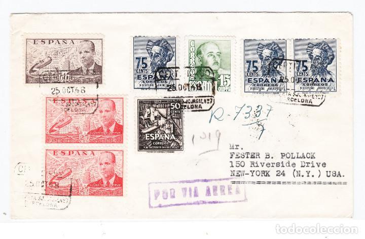 SOBRE BARCELONA A NEW YORK 1948 LLEGADA (Sellos - España - Estado Español - De 1.936 a 1.949 - Cartas)