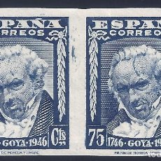 Sellos: EDIFIL 1007S II CENTENARIO DEL NACIMIENTO DE GOYA 1946. SIN DENTAR. V. CATÁLOGO: 90 €. LUJO. MNH **. Lote 210795706