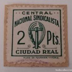 Sellos: CIUDAD REAL. CENTRAL NACIONAL SINDICALISTA, 2 PESETAS.. Lote 212949141