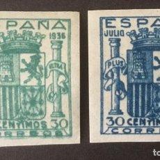 Sellos: 1936-ESPAÑA EDIFIL NE 56/57 MNH** SIN DENTAR NO EXPENDIDO NE56 Y NE57 - SELLOS NUEVOS SIN CHARNELA -. Lote 213630350
