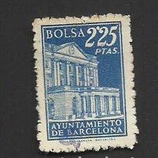 Sellos: A2-9 FISCAL AYUNTAMIENTO DE BARCELONA BOLSA EJEMPLAR DE 2.25 PTAS COLOR AZUL USADO. Lote 213719631