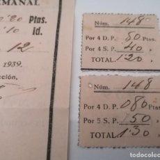 Sellos: ESTOPIÑAN. HUESCA. PLATO UNICO, SIN POSTRE. CUPONES SEPTIEMBRE, OCTUBRE 1939, RARÍSIMOS. Lote 213876848