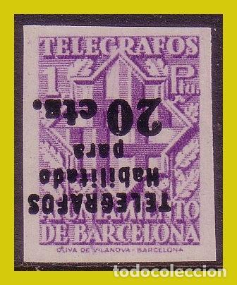 BARCELONA TELÉGRAFOS 1942 ESCUDO CIUDAD HABILTADO, EDIFIL Nº 19S HI (*) (Sellos - España - Estado Español - De 1.936 a 1.949 - Nuevos)
