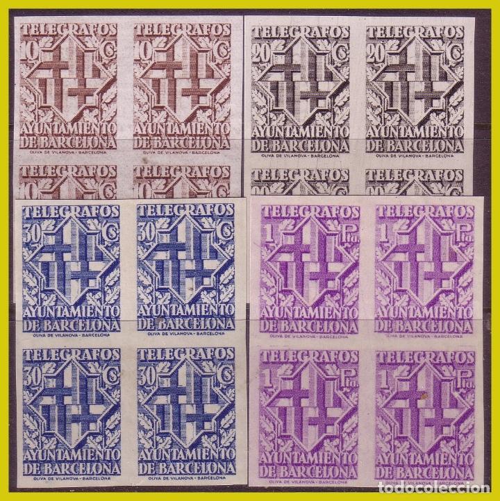 BARCELONA TELÉGRAFOS 1941 ESCUDO DE LA CIUDAD, EDIFIL Nº 13S A 16S B4 * * (Sellos - España - Estado Español - De 1.936 a 1.949 - Nuevos)
