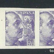 Selos: V1-18 ESPAÑA FRANCO EDIFIL Nº 922S EN PAREJA SIN DENTAR VALOR 20 CTS COLOR VIOLETA SIN FIJASELLOS U. Lote 214206153