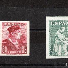 Sellos: 1946 DÍA DEL SELLO FIESTA DE LA HISPANIDAD EDIFIL 1002 Y 1004 ERROR EN EL CORTE SIN DENTAR NUEVOS. Lote 214900608