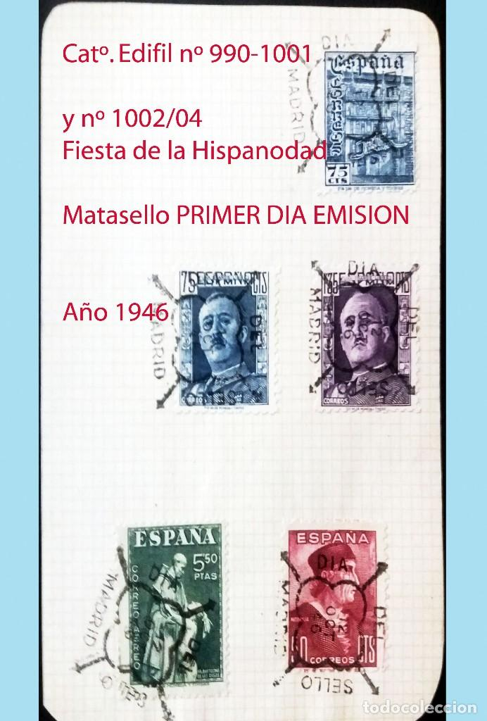 1946.- FRANCO Y DIA DE LA HISPANIDAD CON MATASELLO DE PRIMER DIA DE EMISION EN UNA HOJA. (Sellos - España - Estado Español - De 1.936 a 1.949 - Usados)