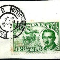 Sellos: ESPAÑA - 1945 - ESTADO ESPAÑOL - EDIFIL 990 - SOBRE FRAGMENTO - MATASELLOS PRIMER DIA DE CIRCULACION. Lote 215914100