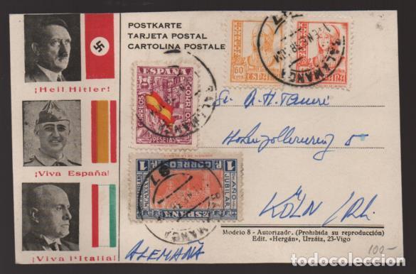 POSTAL PATRIOTICA,- CON SELLO DE 4 PTAS,-DEFENSA NACIONAL- VER FOTOS (Sellos - España - Estado Español - De 1.936 a 1.949 - Cartas)