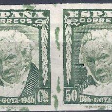Sellos: EDIFIL 1006S II CENTENARIO DEL NACIMIENTO DE GOYA 1946. SIN DENTAR. V. CATÁLOGO: 22 €. LUJO. MLH.. Lote 217169378