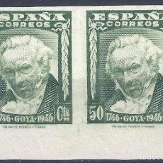 Sellos: EDIFIL 1006S II CENTENARIO DEL NACIMIENTO DE GOYA 1946. SIN DENTAR. V. CATÁLOGO: 25 €. LUJO. MNH **. Lote 217170408