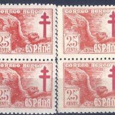 Sellos: EDIFIL 1010 PRO TUBERCULOSOS 1946 (BLOQUES DE 4) (VARIEDAD...COLOR). MNH **. Lote 217621126