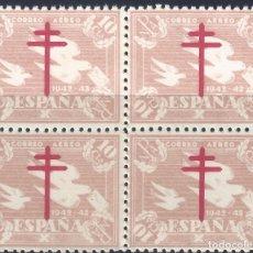 Sellos: EDIFIL 960 PRO TRUBERCULOSOS 1942. CORREO AÉREO (BLOQUE DE 4). VALOR CATÁLOGO: 15 €. MNH **. Lote 217784100