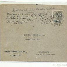 Sellos: CIRCULADA 1942 DE HIDRO-ELECTRICA RIVADAVIA ORENSE A PONTEVEDRA. Lote 218102645