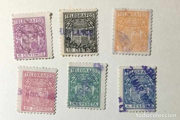 LOTE DE 6 SELLOS DE TELÉGRAFOS DIFERENTES VALORES , USADOS (Sellos - España - Estado Español - De 1.936 a 1.949 - Usados)