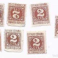 Sellos: ESPAÑA 1940 CIFRAS 2 CTS CASTAÑO. 8 SELLOS. Lote 218558036