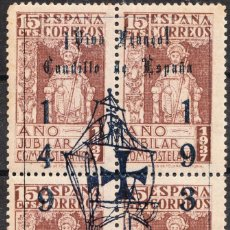 Sellos: 1937 AÑO JUBILAR SOBRECARGA FRANCO COLÓN GOMA Y SIN FIJASELLOS. Lote 219024997