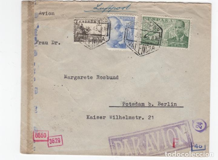 1943 SOBRE DIRIGIDO A ALEMANIA DESDE VALENCIA (Sellos - España - Estado Español - De 1.936 a 1.949 - Cartas)