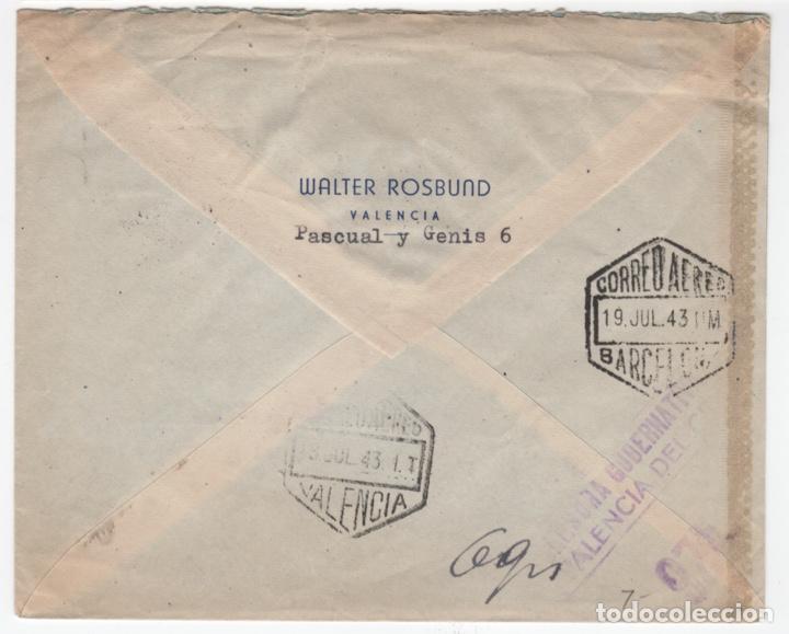 Sellos: 1943 sobre dirigido a Alemania desde Valencia - Foto 2 - 219142793