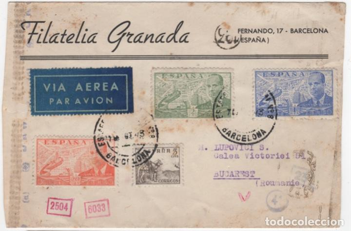 1943 SOBRE DIRIGIDO A RUMANIA DESDE BARCELONA (Sellos - España - Estado Español - De 1.936 a 1.949 - Cartas)