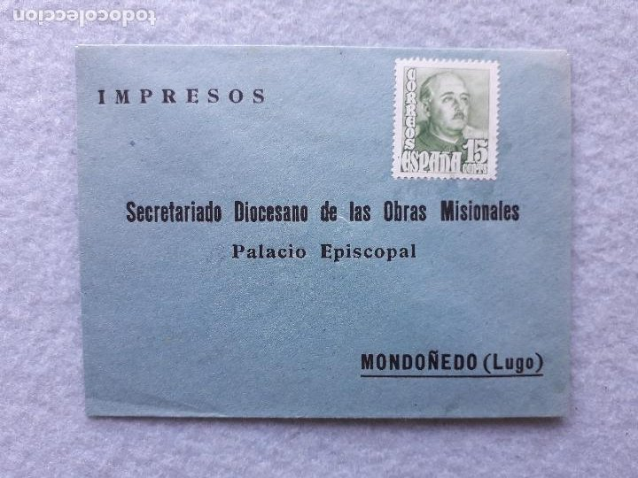 ANTIGUO SOBRE FRANQUEADO. PALACIO EPISCOPAL MONDOÑEDO. LUGO. (Sellos - España - Estado Español - De 1.936 a 1.949 - Cartas)