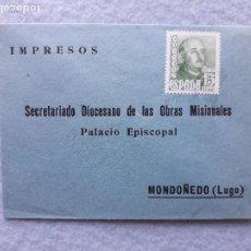 Sellos: ANTIGUO SOBRE FRANQUEADO. PALACIO EPISCOPAL MONDOÑEDO. LUGO.. Lote 219264456