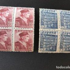 Sellos: FIESTA DE LA HISPANIDAD, 1946, BLOQUES DE 4, EDIFIL 1002 Y 1003, NUEVOS**. Lote 219854810