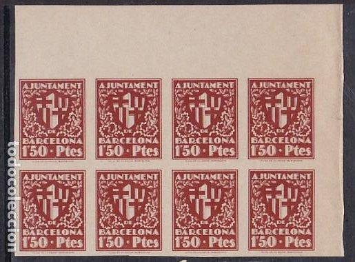 HP4-9- AYUNTAMIENTO BARCELONA ESCUDO DE LA CIUDAD 1.50 PTES . BLOQUE 8. SIN DENTAR (Sellos - España - Estado Español - De 1.936 a 1.949 - Nuevos)