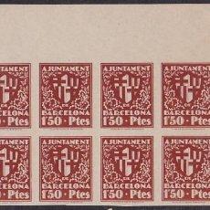 Selos: HP4-9- AYUNTAMIENTO BARCELONA ESCUDO DE LA CIUDAD 1.50 PTES . BLOQUE 8. SIN DENTAR. Lote 220137918