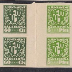 Selos: HP4-9- AYUNTAMIENTO BARCELONA ESCUDO CIUDAD 60 CTS Y 5 PTES . BLOQUES 4. SIN DENTAR. INTERPANEL. Lote 220138033