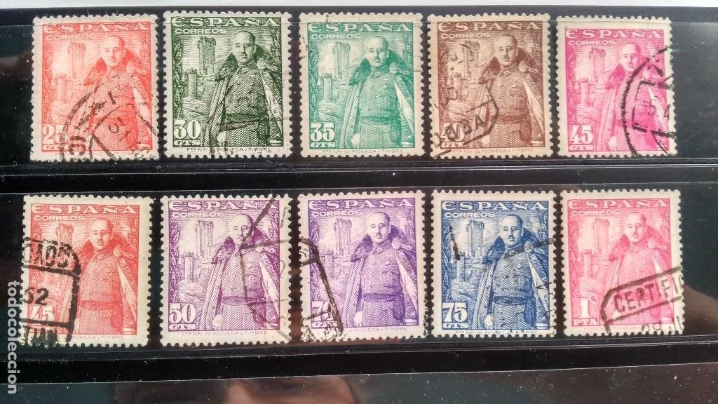 SELLOS ESPAÑA 1024-1032. FRANCO Y CASTILLO DE LA MOTA. ESTADO ESPAÑOL. 1948-1954. USADO. (Sellos - España - Estado Español - De 1.936 a 1.949 - Usados)