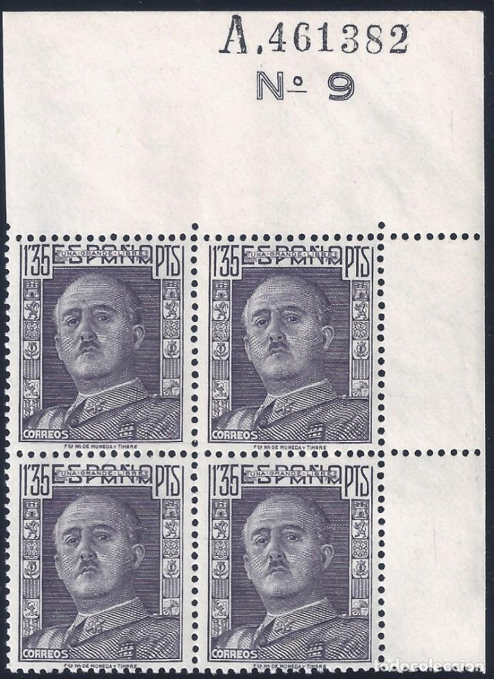 EDIFIL 1061 GENERAL FRANCO 1949 (BLOQUE DE 4 CON BORDE DE HOJA NUMERADA). MNH ** (Sellos - España - Estado Español - De 1.936 a 1.949 - Nuevos)