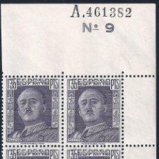 Sellos: EDIFIL 1061 GENERAL FRANCO 1949 (BLOQUE DE 4 CON BORDE DE HOJA NUMERADA). MNH **. Lote 220718083
