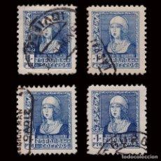 Sellos: 1938-39.ISABEL CATÓLICA.1P AZUL.4 MATASELLO LEGIBLE.USADO.EDIFIL 860. Lote 220729671