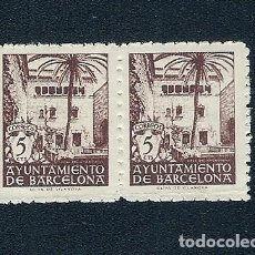 Sellos: A2-6 AYUNTAMIENTO DE BARCELONA EDIFIL Nº 66NA (SIN LETRA DE SERIE) VALOR 5 CTS COLOR CASTAÑO PAREJA. Lote 220948022