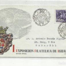 Sellos: EXPO FILATELICA IGUALADA CIRCULADA 1953 DE IGUALADA BARCELONA A SABADELL. Lote 221259297