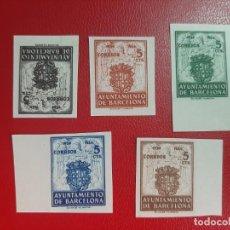 Sellos: SELLOS BARCELONA AÑO 1944 EDIFIL 55/59 SIN DENTAR PRECIO CAT 69 EUROS. Lote 221672107