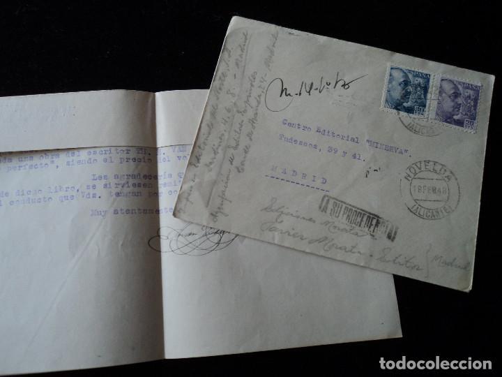 SOBRE CON CARTA EN INTERIOR DE PEDIDO A CENTRO EDITORIAL MINERVA DEVUELTA A SU PROCEDENCIA 1948 (Sellos - España - Estado Español - De 1.936 a 1.949 - Cartas)