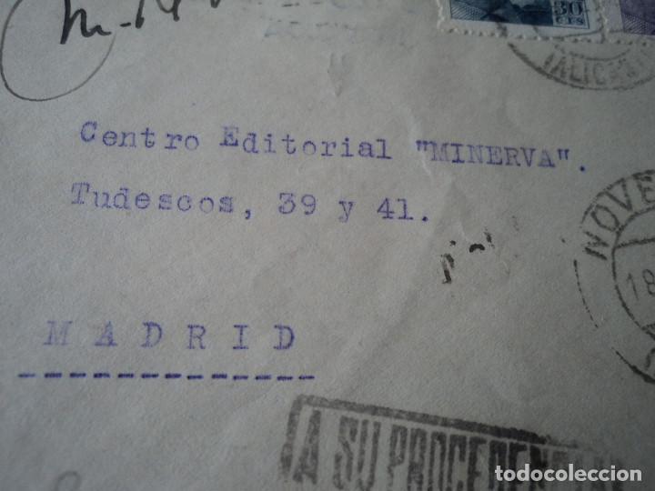 Sellos: sobre con carta en interior de pedido a centro editorial minerva devuelta a su procedencia 1948 - Foto 2 - 221761507