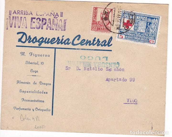 HP4-1- GUERRA CIVIL . CARYA PUBLICITARIA DROGUERÍA CENTRAL LUGO 1937. LOCAL Y CENSURA (Sellos - España - Estado Español - De 1.936 a 1.949 - Cartas)