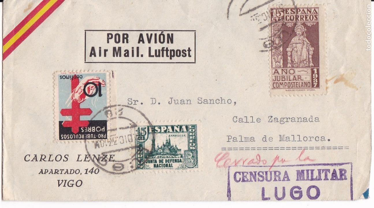HP4-3-GUERRA CIVIL CARTA LUGO 1937. TUBERCULOSOS Y MANUSCRITO ROJO CERRADO POR LA CENSURA (Sellos - España - Estado Español - De 1.936 a 1.949 - Cartas)