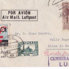 Sellos: HP4-3-GUERRA CIVIL CARTA LUGO 1937. TUBERCULOSOS Y MANUSCRITO ROJO CERRADO POR LA CENSURA. Lote 221786116