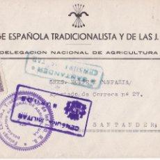 Sellos: HP4-3-GUERRA CIVIL CARTA FALANGE BURGOS 1939. MARCA DEL. AGRICULTURA CENSURAS BURGOS Y SANTANDER. Lote 221786377
