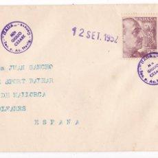 Sellos: HP4-3-FRANCO CARTA MATASELLOS BARCO GIULIO CESARE GENOVA- PALMA 1952. Lote 221786556