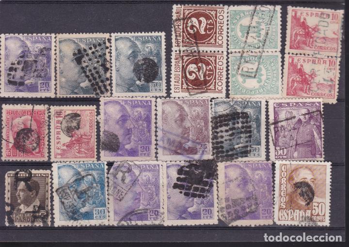 JJ20- FRANCO Y OTROS X 21 SELLOS MATASELLOS INTERSANTES, LACRE, MUDOS, LINEALES (Sellos - España - Estado Español - De 1.936 a 1.949 - Usados)