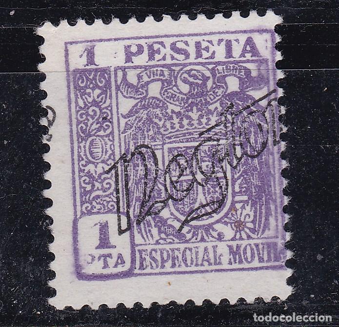 JJ7- FISCALES ESPECIAL MÓVIL AGUILA Y ESCUDO 1 PTA SOBRECARGA PARTICULAR NEGTOR (*) (Sellos - España - Estado Español - De 1.936 a 1.949 - Usados)