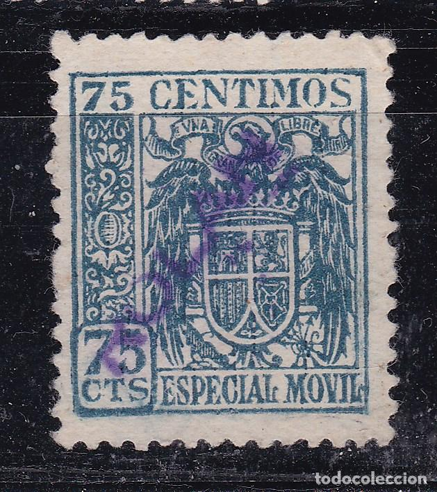 JJ7- FISCALES ESPECIAL MÓVIL AGUILA Y ESCUDO 75 CTS SOBRECARGA PARTICULAR TAMPÓN ROLAN (*) (Sellos - España - Estado Español - De 1.936 a 1.949 - Usados)