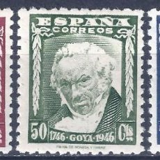 Francobolli: EDIFIL 1005-1007 II CENTENARIO DEL NACIMIENTO DE GOYA 1946 (SERIE COMPLETA). MNH **. Lote 222137541