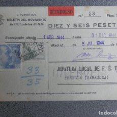 Sellos: PEDROLA ZARAGOZA - CERTIFICADO Y FECHADOR REEMBOLSO AÑO 1944 TARJETA FALANGE. Lote 222146290