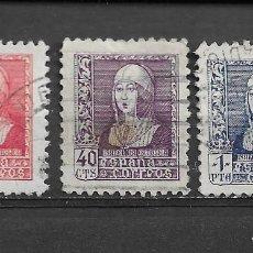 Sellos: ESPAÑA, 1938, ISABEL LA CATÓLICA, EDIFIL 857, 858 Y 860 USADO. Lote 222380411